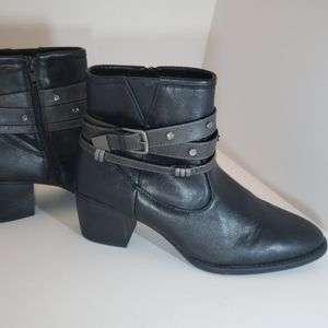 Black Rhinestone & Buckle Strap Ankle Boots 9M